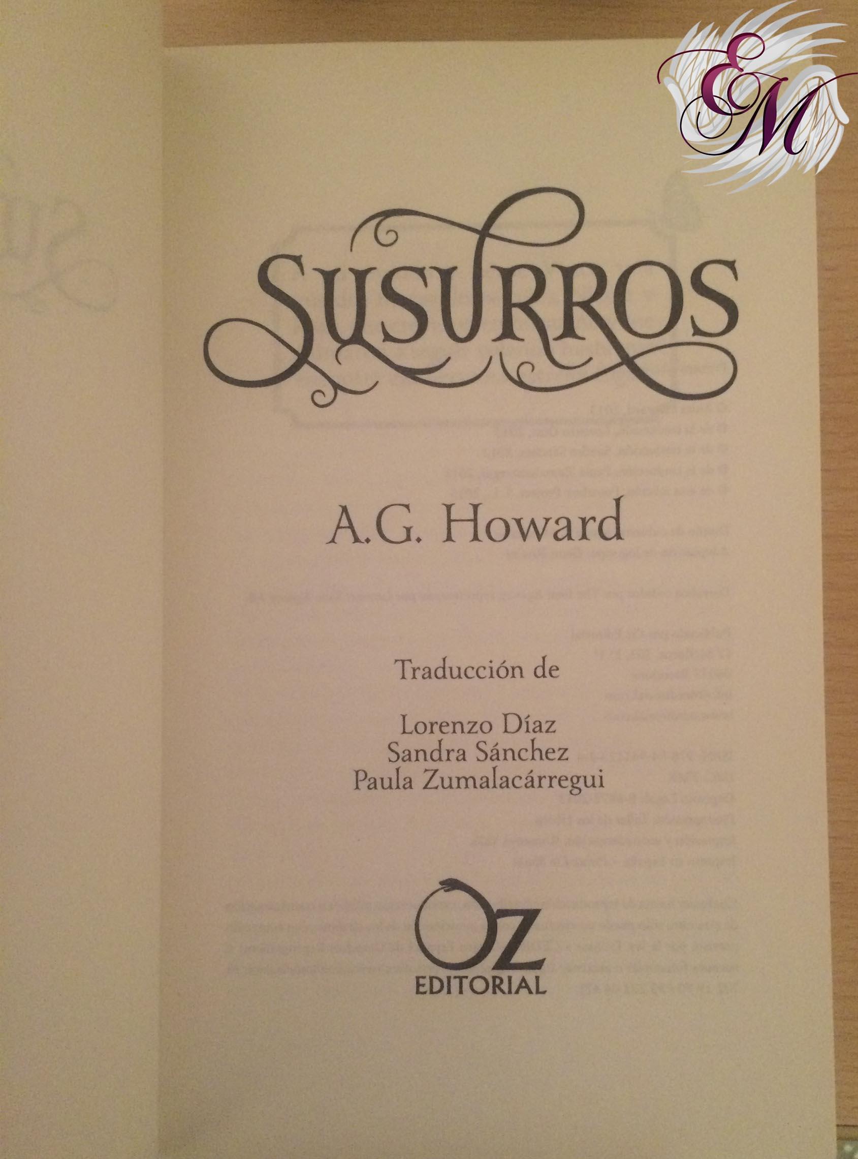 Susurros de  A.G. Howard - Reseña