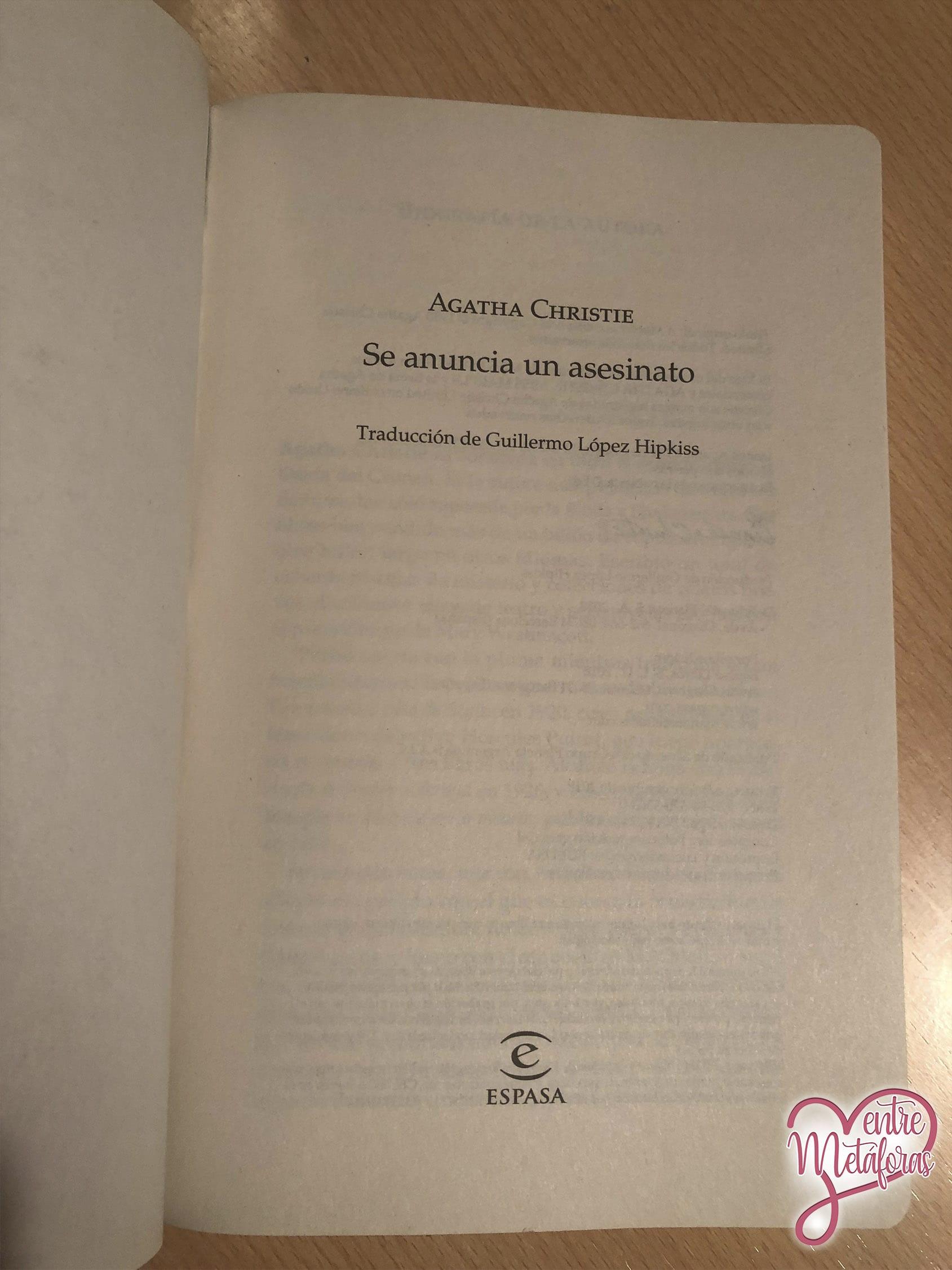 Se anuncia un asesinato, de Agatha Christie - Reseña