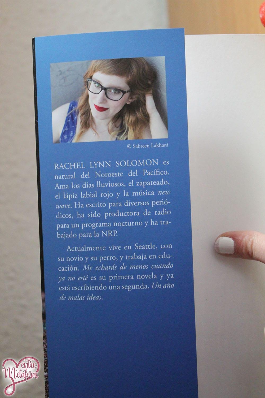 Me echarás de menos cuando ya no esté, de Rachel Lynn Solomon - Reseña