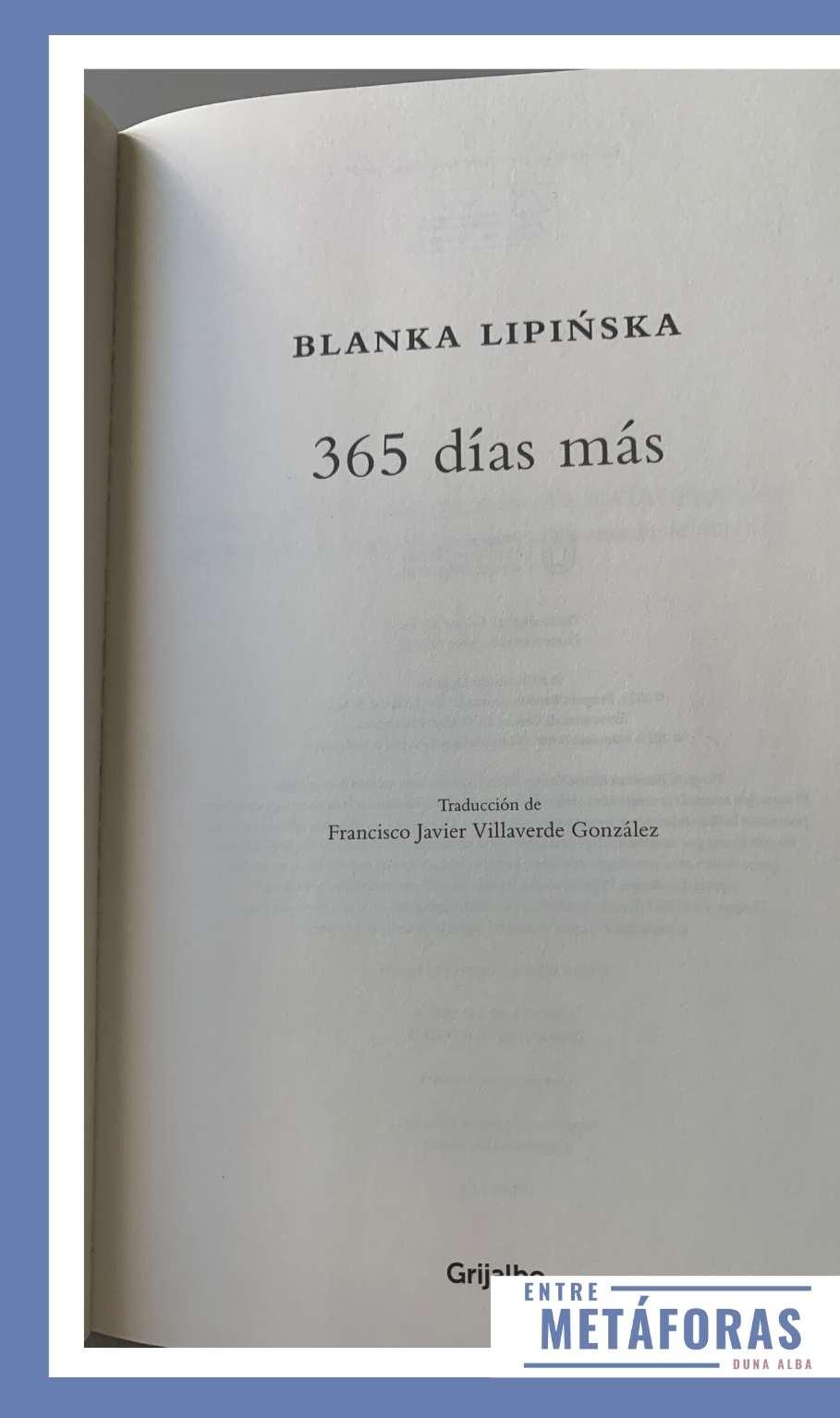 365 días más, de Blanka Lipinska