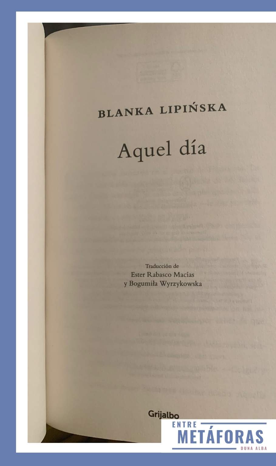 Aquel día de Blanka Lipinska